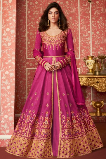 Desirable Pink Embroidered Silk Anarkali Suit With Nazmin Dupatta