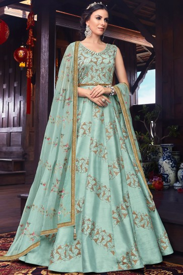 Embroidery And Thread Work Designer Sky Blue Silk Abaya Style Anarkali Suit With Net Dupatta