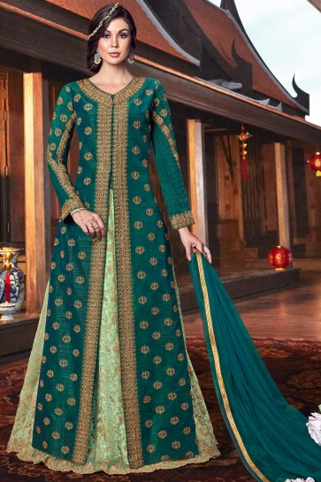 Tussar Silk Green Thread Work And Embroidered Abaya Style Lehenga Suit With Net Dupatta