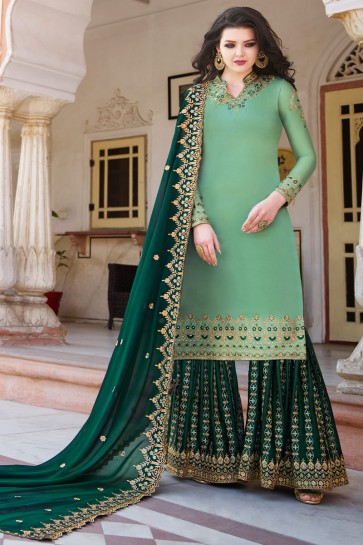 Classic Light Green Embroidery And Stone Work Satin Fabric Plazzo Suit With Georgette Dupatta
