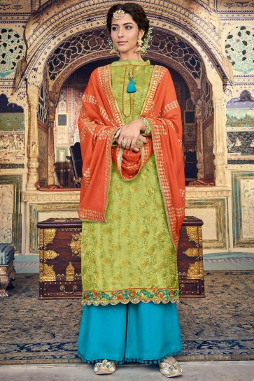 Mehendi Green Banarasi Silk And Jacquard Embroidered Plazzo Suit With Jacquard Dupatta