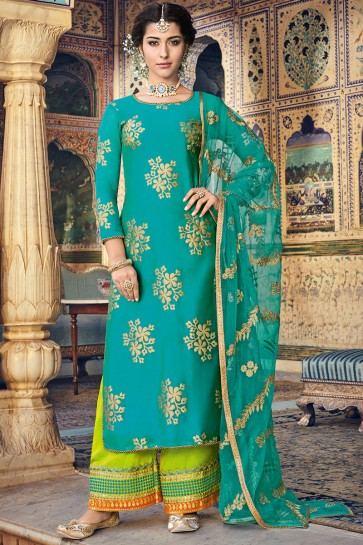 Embroidery And Printed Work Teal Chanderi Fabric Plazzo Suit With Net Dupatta