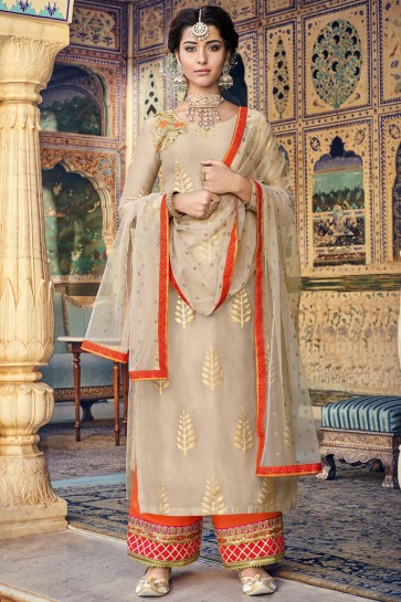 Designer Chanderi Fabric Beige Printed And Embroidered Plazzo Suit With Net Dupatta