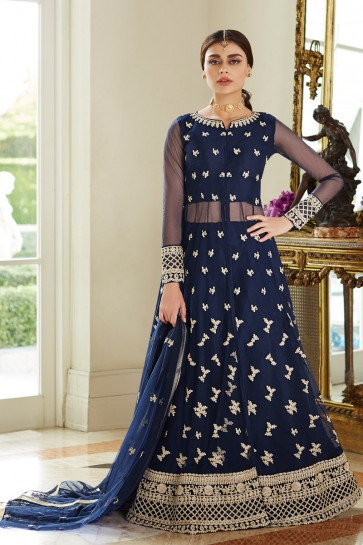 Pleasing Navy Blue Net Embroidered Anarkali Suit With Net Dupatta