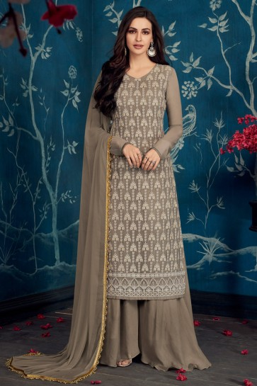 Solid Grey Embroidered Georgette Plazzo Suit With Cotton Dupatta