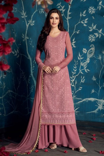 Lovely Pink Embroidered Georgette Plazzo Suit With Cotton Dupatta