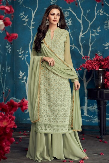 Fascinating Embroidered Pista Georgette Plazzo Suit With Cotton Dupatta