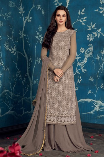 Beautiful Grey Embroidered Georgette Plazzo Suit With Cotton Dupatta