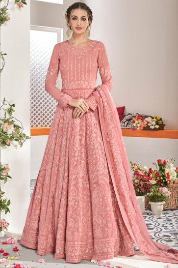 Peach Net Fabric Embroidered Designer Abaya Style Anarkali Suit And Dupatta