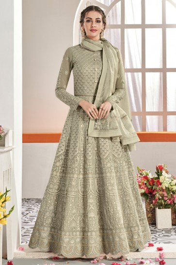 Net Fabric Designer Grey Embroidery Work Anarkali Suit And Santoon Bottom