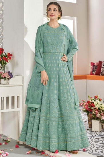 Heavy Designer Sea Green Embroidered Designer Abaya Style Anarkali Suit With Net Dupatta