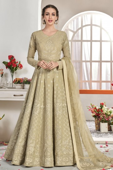 Beautiful Embroidery Work Beige Net Fabric Abaya Style Anarkali Suit And Dupatta