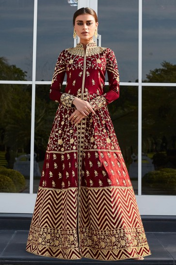 Abaya Style Silk Fabric Red Embroidered And Lace Work Anarkali Suit With Nazmin Dupatta