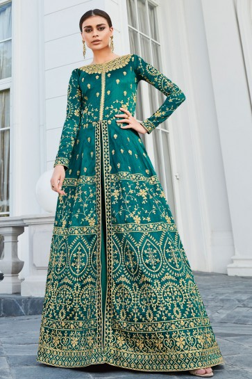 Party Wear Lace Work And Embroidered Turquoise Silk Fabric Abaya Style Anarkali Suit And Dupatta