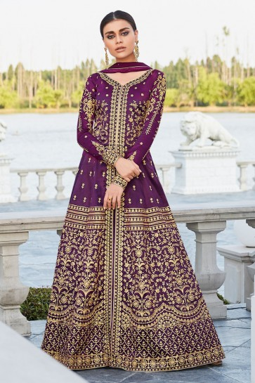 Lace Work And Embroidered Purple Silk Fabric Designer Abaya Style Anarkali Suit With Nazmin Dupatta