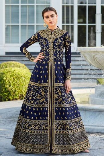Heavy Designer Blue Embroidered And Lace Work Silk Abaya Style Anarkali Suit With Nazmin Dupatta