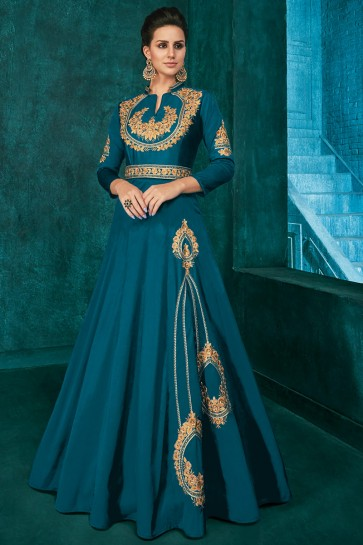 Solid Blue Silk Fabric Embroidered Designer Gown