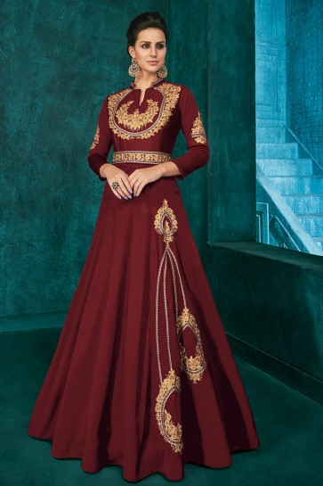 Graceful Embroidered Maroon Silk Fabric Gown