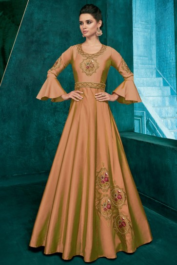 Fascinating Khaki Silk Fabric Embroidered Designer Gown