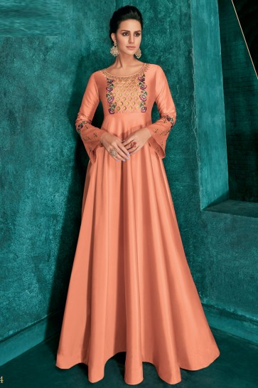 Optimum Peach Silk Embroidered Excellent Gown