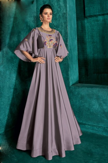 Admirable Grey Silk Fabric Embroidered Designer Gown