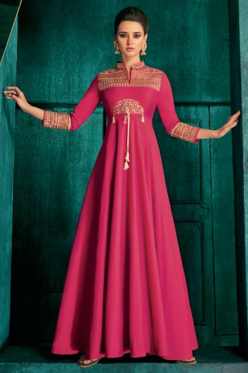 Charming Embroidered Pink Silk Fabric Gown