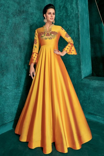 Heavy Designer Yellow Silk Embroidered Excellent Gown