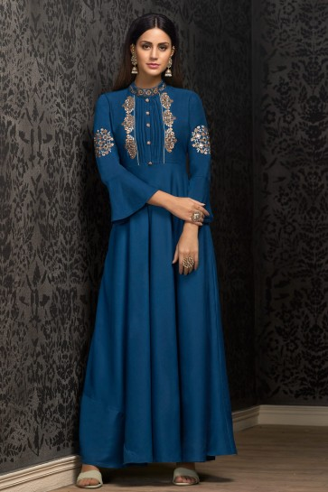 Party Wear Navy Blue Embroidered Muslin Gown