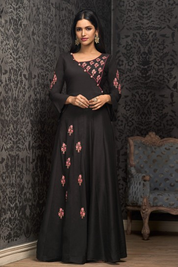 Black Embroidered Muslin Excellent Gown