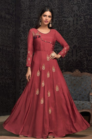 Lovely Embroidered Rust Muslin Designer Gown