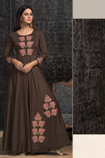 Marvelous Embroidered Brown Designer Muslin Gown