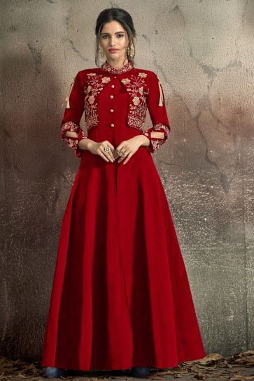 Marvelous Tapeta Embroidered Red Designer Gown