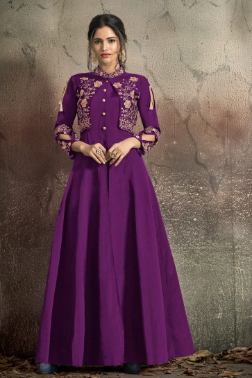Party Wear Violet Tapeta Embroidered Gown