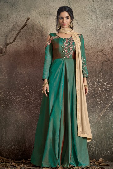Admirable Teal Embroidered Tapeta Anarkali Suit With Nazmin Dupatta