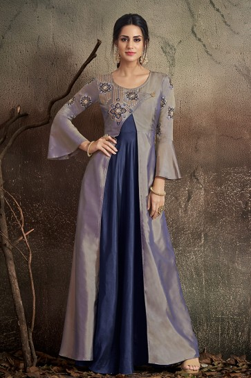 Optimum Embroidered Grey And Navy Blue Tapeta Anarkali Suit With Nazmin Dupatta