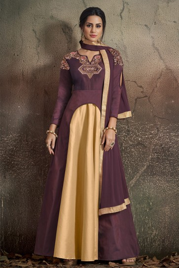 Fascinating Embroidered Designer Coffee Tapeta Anarkali Suit With Nazmin Dupatta
