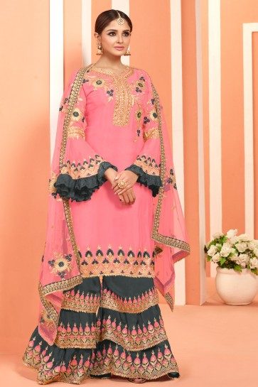 Pink Embroidered And Lace Work Faux Georgette Plazzo Suit With Net Dupatta
