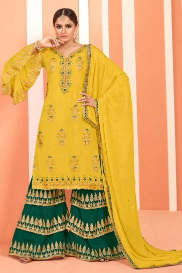 Delightful Yellow Embroidered And Lace Work Faux Georgette Plazzo Suit With Net Dupatta