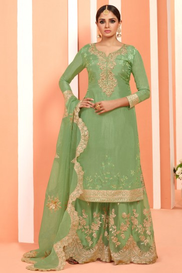 Marvelous Light Green Embroidered And Lace Work Faux Georgette Plazzo Suit With Net Dupatta
