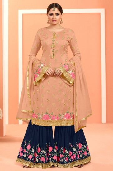 Lovely Embroidered And Lace Work Peach Faux Georgette Plazzo Suit With Net Dupatta