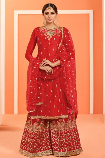 Gorgeous Faux Georgette Red Embroidered And Lace Work Plazzo Suit With Net Dupatta
