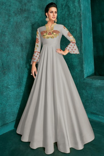 Lovely Grey Silk Fabric Embroidered Designer Gown