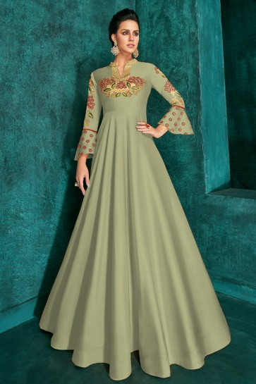 Marvelous Pista Embroidered Designer Silk Fabric Gown