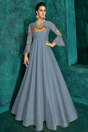 Sky Blue Silk Embroidered Excellent Gown