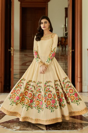 Designer Embroidered Cream Silk Anarkali Suit With Nazmin Dupatta