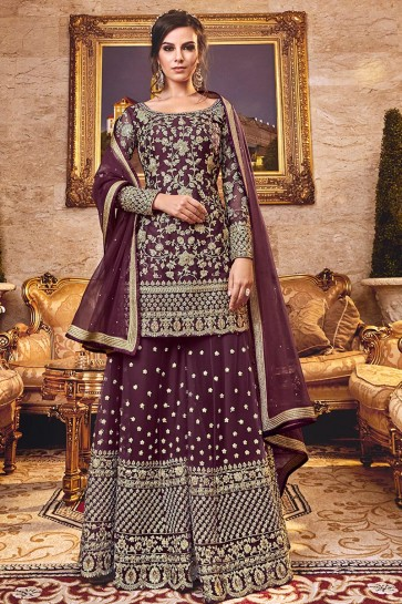 Violet Embroidered Art Silk Plazzo Suit With Net Dupatta