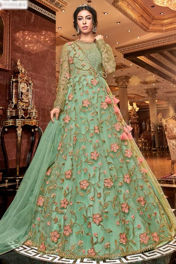 Classy Embroidered Net Sea Green Anarkali Suit With Net Dupatta