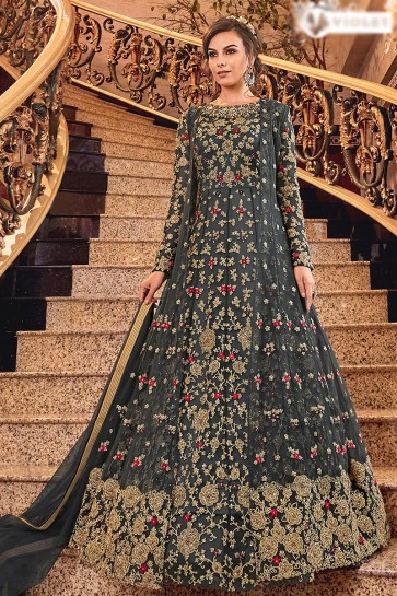 Desirable Embroidered Charcoal Net Anarkali Suit With Net Dupatta
