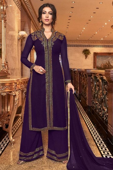 Delightful Purple Embroidered Art Silk Plazzo Suit With Net Dupatta