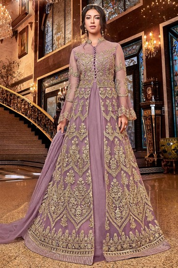 Heavy Designer Wine Embroidered Net Anarkali Suit With Net Dupatta